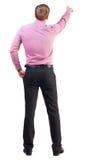 Ideia traseira de apontar homens de negócio novos na camisa cor-de-rosa imagens de stock royalty free