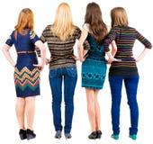 Ideia traseira do grupo de jovens mulheres que discutem e que olham fotografia de stock