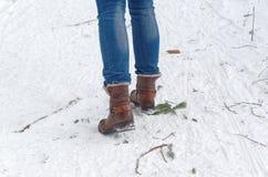 Ideia traseira dos pés fêmeas nas botas que andam no trajeto do inverno através da neve Foto de Stock