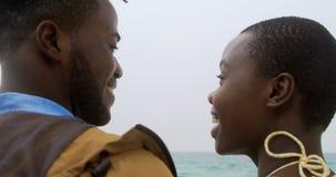 Ideia traseira dos pares afro-americanos que estão junto o a praia 4k video estoque