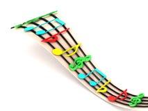 Ideia tridimensional de notas musicais Imagem de Stock Royalty Free