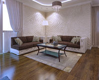 Ideias da sala de visitas com sofá de couro Fotos de Stock Royalty Free