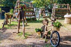Ideias de jardinagem com bicicleta de madeira Fotos de Stock