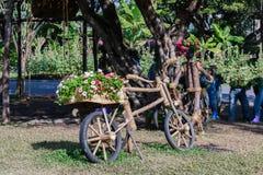 Ideias de jardinagem com bicicleta de madeira Fotos de Stock Royalty Free