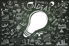 Ideias do negócio Garatujas do negócio da ampola de desenho a mão livre ajustadas ilustração stock