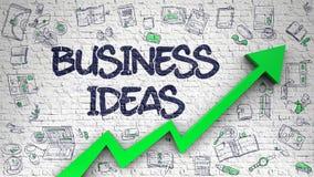 Ideias do negócio tiradas na parede de tijolo 3d ilustração do vetor