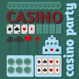 Ideias do partido do casino no estilo liso ilustração royalty free