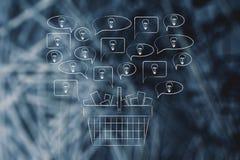 Ideias novas do desenvolvimento de produtos estalando fora de um ful do carrinho de compras ilustração stock