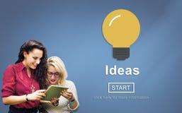 Ideias que compartilham do conceito em linha do objetivo de missão do Web site Fotos de Stock Royalty Free