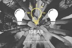 Ideias que pensam o conceito do clique da visão dos pensamentos fotos de stock royalty free