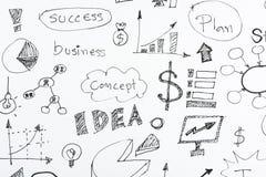Ideias tiradas mão do ícone do negócio Foto de Stock Royalty Free