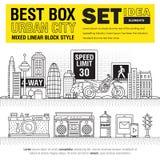 Ideias urbanas do grupo de elementos da cidade da melhor caixa moderna Imagens de Stock Royalty Free