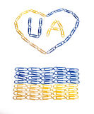 Identica of Ukraine made of office paper clips stock image