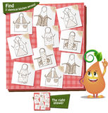 2 identical  aprons kitchen. Visual Game for children. Task: Find 2 identical kitchen aprons Stock Images