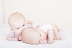 identical baby twin sisters Royalty Free Stock Photos