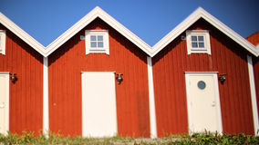 Identical red houses Stock Photo