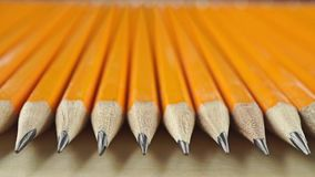 Identical sharp pencils, perspective view. Equality concept, macro dolly video. Clip stock video footage