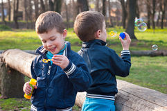 Identical twin brothers blow soap bubbles. Four year old identical twin boys in the meadow. They blow soap bubbles. They stand near the log Royalty Free Stock Photos
