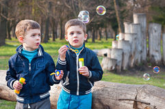 Identical twin brothers blow soap bubbles. Four year old identical twin boys in the meadow. They blow soap bubbles. They stand near the log Stock Image