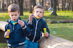 Identical twin brothers blow soap bubbles. Four year old identical twin boys in the park. They blow soap bubbles. They stand near the log. Season - early spring stock photo