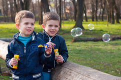 Identical twin brothers blow soap bubbles. Four year old identical twin boys in the park.  They blow soap bubbles. They stand near the log Royalty Free Stock Images