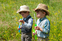 Identical twins blow soap bubbles. Three year old identical twins blow soap bubbles on the meadow Stock Photography