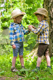 Identical twins in cowboy hats. Three year old identical twins play in the park. Children dressed in the colours of the Ukrainian flag. Boys wearing orthopedic Royalty Free Stock Images