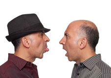 Identical twins fighting royalty free stock photo