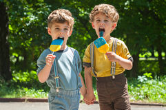 Identical twins with lollipops. Three year old identical twins hold hands. They are holding the candy in the colors of the Ukrainian flag. Summertime Stock Images