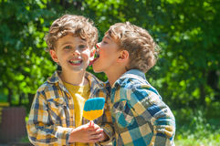 Identical twins with lollipops Royalty Free Stock Image