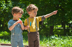 Identical twins with lollipops. Three year old identical twins are holding the candy in the colors of the Ukrainian flag. Summertime royalty free stock photo
