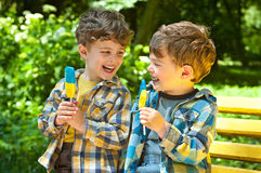 Identical twins with lollipops. Three year old identical twins are holding lollipops in colors of the Ukrainian flag. The children are dressed in plaid shirts Stock Image