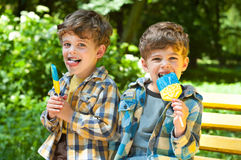 Identical twins with lollipops. Three year old identical twins are holding lollipops in colors of the Ukrainian flag. The children are dressed in plaid shirts Royalty Free Stock Photos