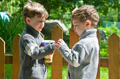Identical twins with popcorn in the park. Three years old boys share the popcorn. They are in a park near wooden fence. Boys are dressed in knitted sweaters Royalty Free Stock Photo