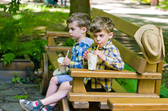Identical twins take a drink. Three year old identical twins take a drink in the park. Children dressed in the colours of the Ukrainian flag. Boys wearing Royalty Free Stock Images