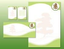 Identidade corporativa ajustada - árvore japonesa ilustração stock