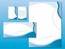Identidade corporativa ajustada - ondas do azul ilustração royalty free