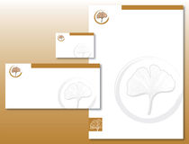 A identidade corporativa ajustou - a folha do Ginkgo no ouro/Brown ilustração royalty free