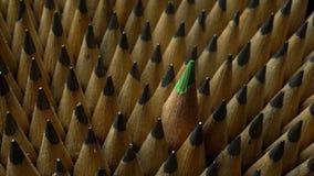 Identieke grafietpotloden in omwenteling en één groen kleurpotlood stock videobeelden