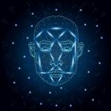 Identificación biométrica, azul 3 de la cara del hombre ilustración del vector