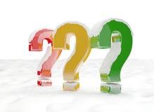 Identificar de perguntas por meio de neve 3d-illustration Fotos de Stock