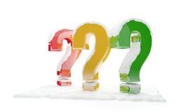 Identificar de perguntas por meio de neve 3d-illustration Fotografia de Stock Royalty Free