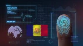 Identificatiesysteem van het vingerafdruk het Biometrische Aftasten De Nationaliteit van Andorra stock illustratie