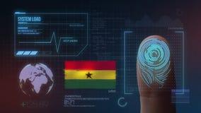 Identificatiesysteem van het vingerafdruk het Biometrische Aftasten De Nationaliteit van Ghana royalty-vrije illustratie