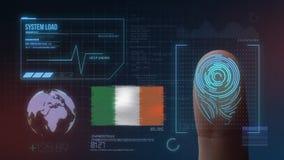 Identificatiesysteem van het vingerafdruk het Biometrische Aftasten De Nationaliteit van Ierland stock foto