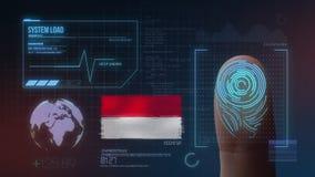 Identificatiesysteem van het vingerafdruk het Biometrische Aftasten De Nationaliteit van Indonesië stock illustratie
