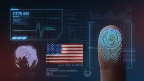 Identificatiesysteem van het vingerafdruk het Biometrische Aftasten De Nationaliteit van de Verenigde Staten van Amerika vector illustratie