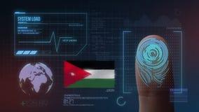 Identificatiesysteem van het vingerafdruk het Biometrische Aftasten Jordan Nationality stock afbeeldingen