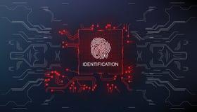 Identification, balayage de doigt dans l'identification biométrique de style futuriste avec le balayage futuriste d'empreinte dig illustration libre de droits