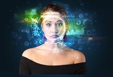 Identification biométrique et reconnaissance faciale photographie stock libre de droits